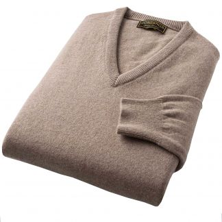 Cordings Fawn Lambswool V-Neck Jumper Different Angle 1