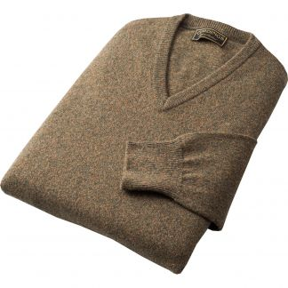 Cordings Green Marl Lambswool V-Neck Jumper Different Angle 1