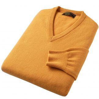 Cordings Gold Lambswool V-Neck Jumper Different Angle 1