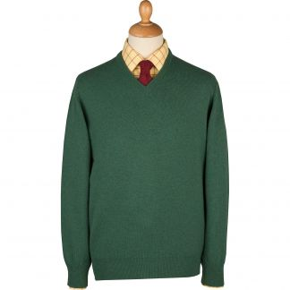 Cordings Green Heather Lambswool V-Neck Jumper Main Image