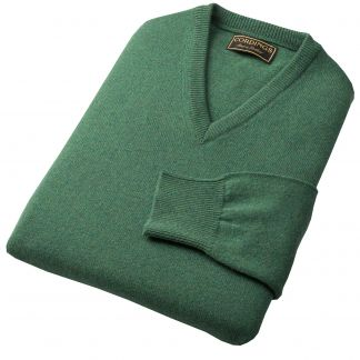 Cordings Green Heather Lambswool V-Neck Jumper Different Angle 1