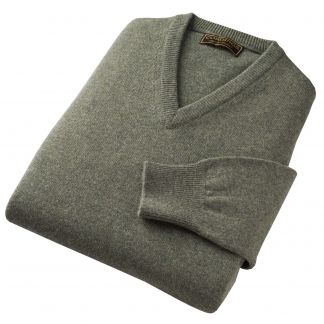 Cordings Moss Green Lambswool V-Neck Jumper Different Angle 1