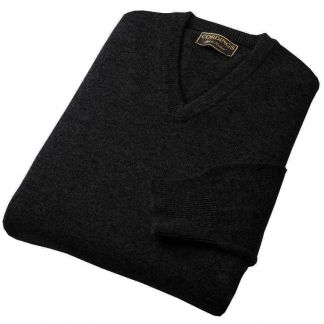 Cordings Charcoal Lambswool V-Neck Jumper Main Image