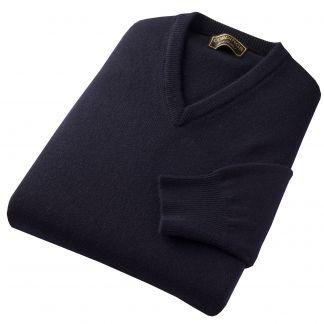 Cordings Navy Blue Lambswool V-Neck Jumper Different Angle 1
