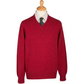 Cordings Berry Red Lambswool V-Neck Jumper Main Image