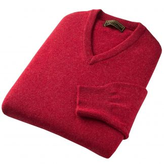 Cordings Berry Red Lambswool V-Neck Jumper Different Angle 1