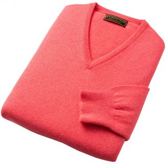 Cordings Bright Rose Lambswool V-Neck Jumper Different Angle 1