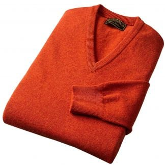 Cordings Rust Lambswool V-Neck Jumper Different Angle 1