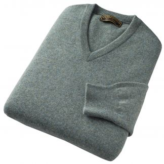 Cordings Sage Green Marl Lambswool V-Neck Jumper Different Angle 1