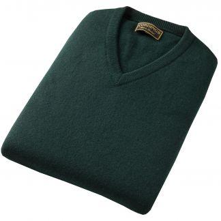Cordings Tartan Green Lambswool Slipover Different Angle 1