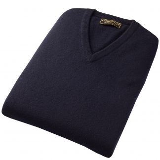 Cordings Navy Lambswool Slipover Different Angle 1
