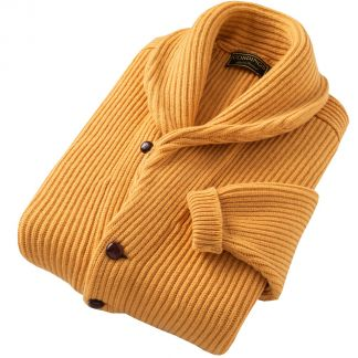 Cordings Gold 4 Ply Lambswool Cardigan Different Angle 1