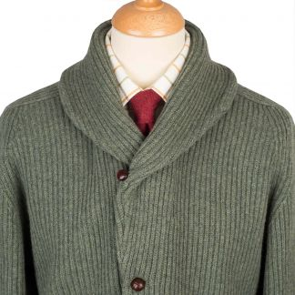 Cordings Moss Green 4 Ply Lambswool Cardigan Different Angle 1