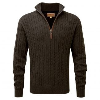 Cordings Schoffel Loden Green Cotton Cashmere Cable 1/4 Zip Jumper Main Image
