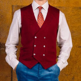 Cordings Wine Double Breasted Merino Waistcoat Different Angle 1