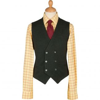 Cordings Olive Double Breasted Merino Waistcoat Main Image