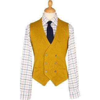 Cordings Mustard Double Breasted Merino Waistcoat Main Image