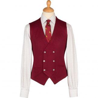 Cordings Wine Double Breasted Merino Waistcoat Main Image