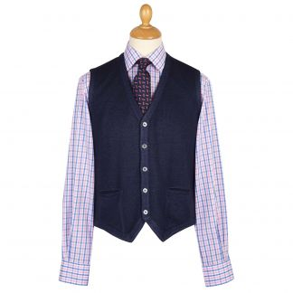 Cordings Navy Blue Vintage Merino Waistcoat Main Image
