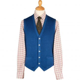 Cordings Royal Blue Vintage Merino Waistcoat Different Angle 1