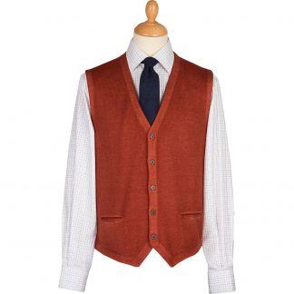 Cordings Rust Vintage Merino Waistcoat Main Image