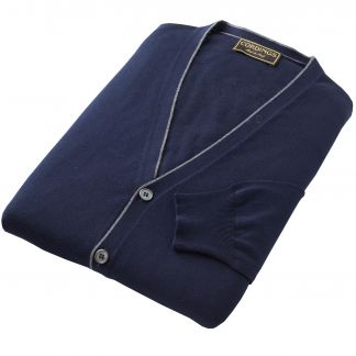 Cordings Navy Contrast Trim Cotton Cardigan Different Angle 1