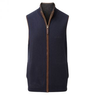 Cordings Schoffel Navy Charcoal Cashmere Reversible Gilet Different Angle 1