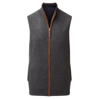 Cordings Schoffel Navy Charcoal Cashmere Reversible Gilet Main Image