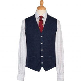Cordings Blue Herringbone Merino Waistcoat Main Image