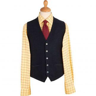 Cordings Navy Green Herringbone Merino Waistcoat Main Image