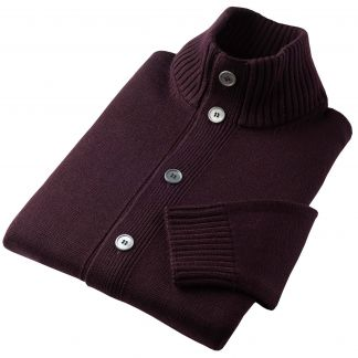 Cordings Wine Merino Stuart Cardigan Different Angle 1