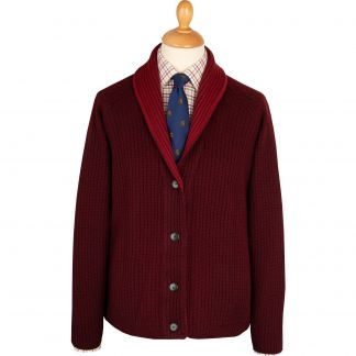 Cordings Bordeaux Fine Merino Reversible Cardigan Different Angle 1
