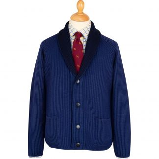 Cordings Navy Fine Merino Reversible Cardigan Main Image