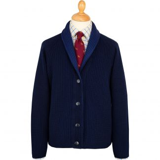 Cordings Navy Fine Merino Reversible Cardigan Different Angle 1