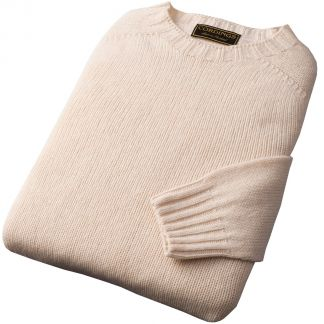 Cordings Cream Wool Cashmere 2 ply Crew Neck Different Angle 1