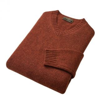 Cordings Rust Super Soft Shetland V-Neck Jumper Different Angle 1