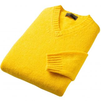 Cordings Gold Super Soft Shetland V-Neck Jumper Different Angle 1