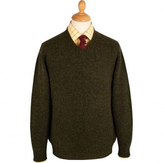 Cordings Loden Green Super Soft Shetland V-Neck Jumper Main Image