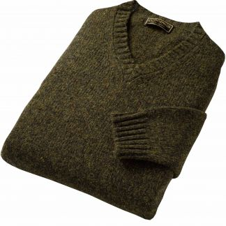 Cordings Loden Green Super Soft Shetland V-Neck Jumper Different Angle 1