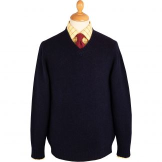 Cordings Navy Super Soft Shetland V-Neck Jumper Main Image