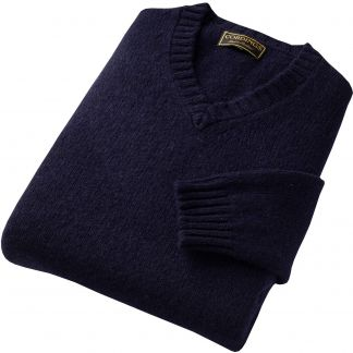 Cordings Navy Super Soft Shetland V-Neck Jumper Different Angle 1