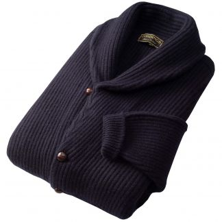 Cordings Navy 4 Ply Cashmere Cardigan Different Angle 1