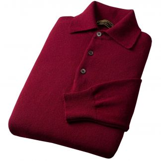 Cordings Bordeaux Polo Merino Jumper Different Angle 1