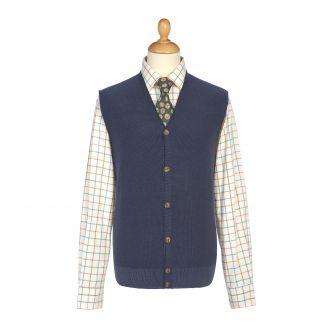 Cordings Blue Sleeveless Wool Cardigan Main Image