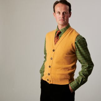 Cordings Gold  Lambswool Knitted Waistcoat Different Angle 1