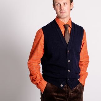 Cordings Navy Lambswool Knitted Waistcoat Different Angle 1