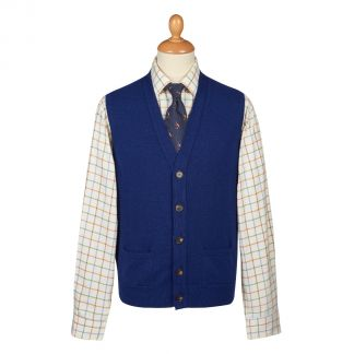 Cordings Indigo Blue Lambswool Knitted Waistcoat Different Angle 1