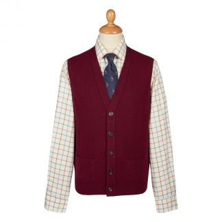 Cordings Bordeaux Lambswool Knitted Waistcoat Different Angle 1