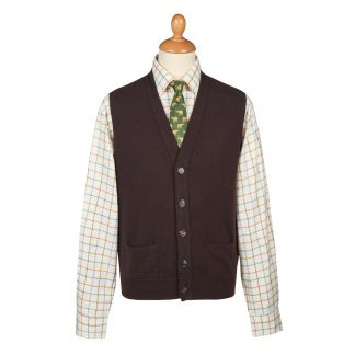 Cordings Brown Lambswool Knitted Waistcoat Different Angle 1