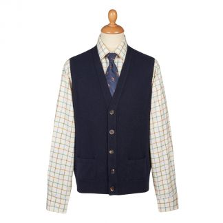Cordings Navy Lambswool Knitted Waistcoat Main Image